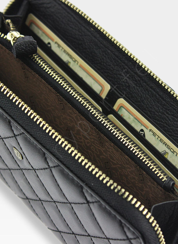 Portfel Damski Skórzany PETERSON Pikowany 605 Czarny