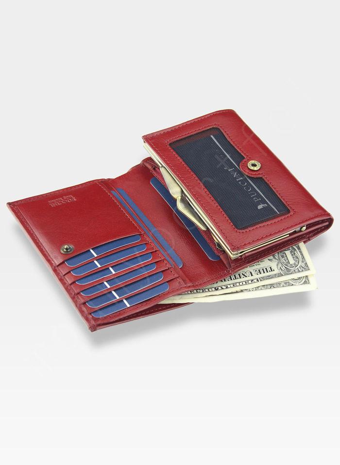 Portfel Damski Skórzany PUCCINI Czerwony Mały z Biglem MU1709