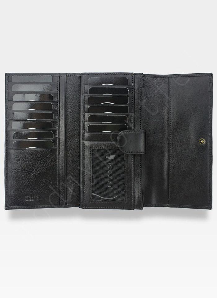 Portfel Damski Skórzany PUCCINI Rozbudowany Czarny 1680125P