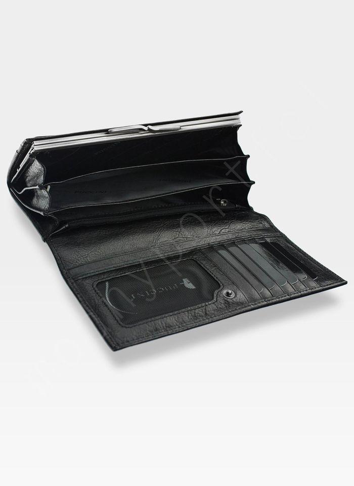 Portfel Damski Skórzany PUCCINI Rozbudowany Czarny 1705P