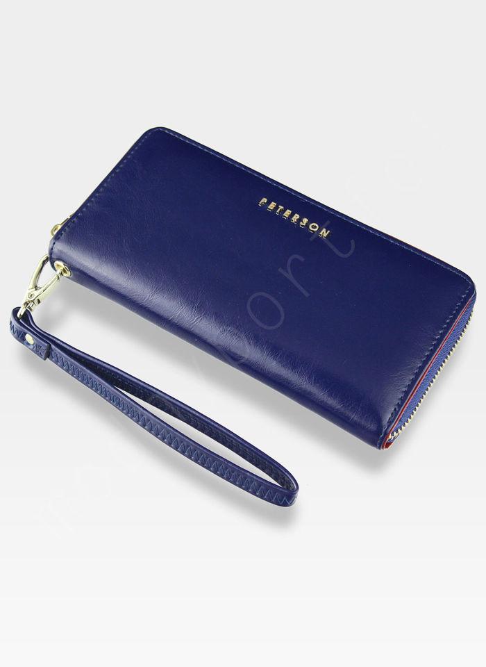 Portfel Damski Skórzany Skóra Gładka PETERSON 781 Ciemny Niebieski RFID