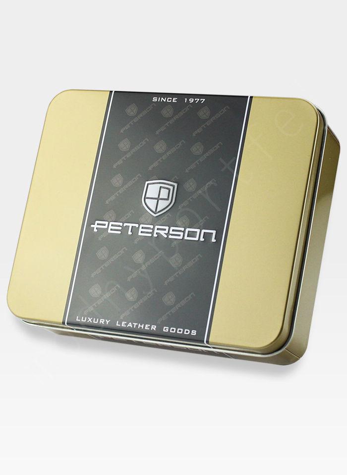 Portfel Męski Peterson Skórzany 302Z Ciemny Brąz