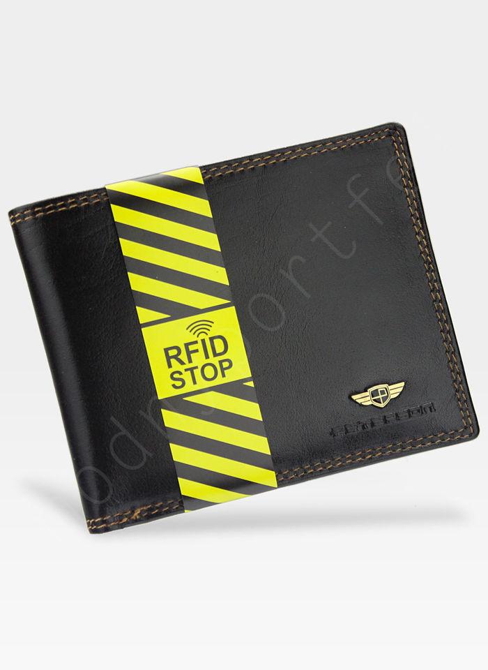 Portfel Męski Peterson Skórzany 354 Ciemny Brąz RFID STOP