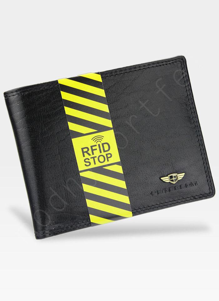 Portfel Męski Peterson Skórzany 354 Czarny RFID STOP