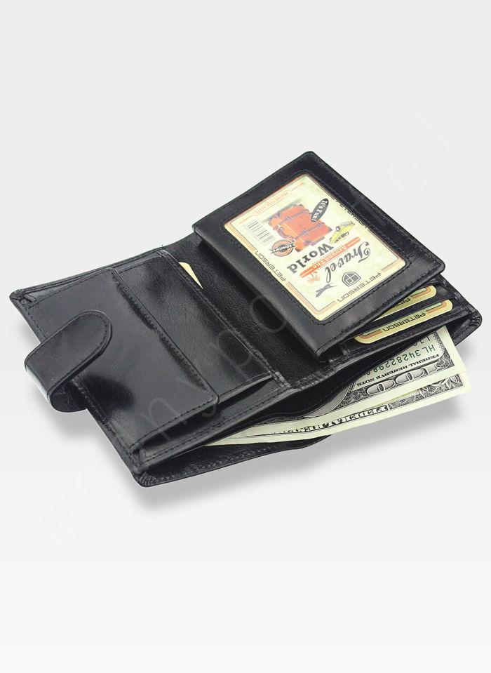 Portfel Męski Peterson Skórzany 408 Czarny 2-częsciowy z wyciąganą wkładką