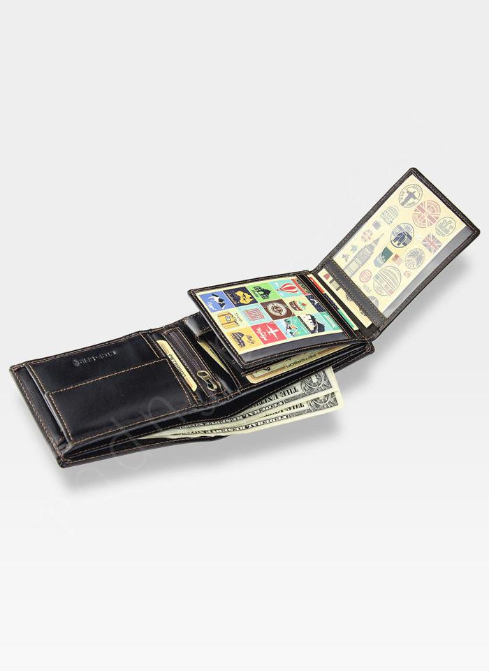 Portfel Męski Peterson Skórzany Classic 304 Ciemny Brąz System RFID