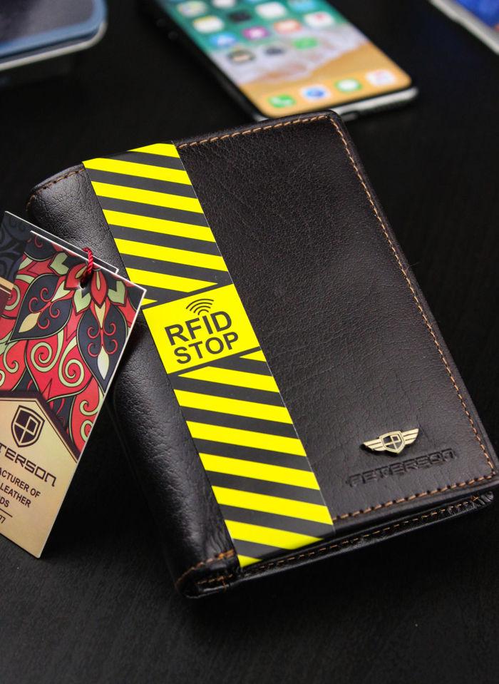 Portfel Męski Peterson Skórzany Piekiełko System RFID Stop Brązowy 324