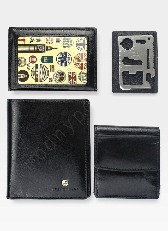 Portfel Męski Peterson Skórzany Rozbudowany 3 elementy z wyciąganą wkładką 313 Czarny