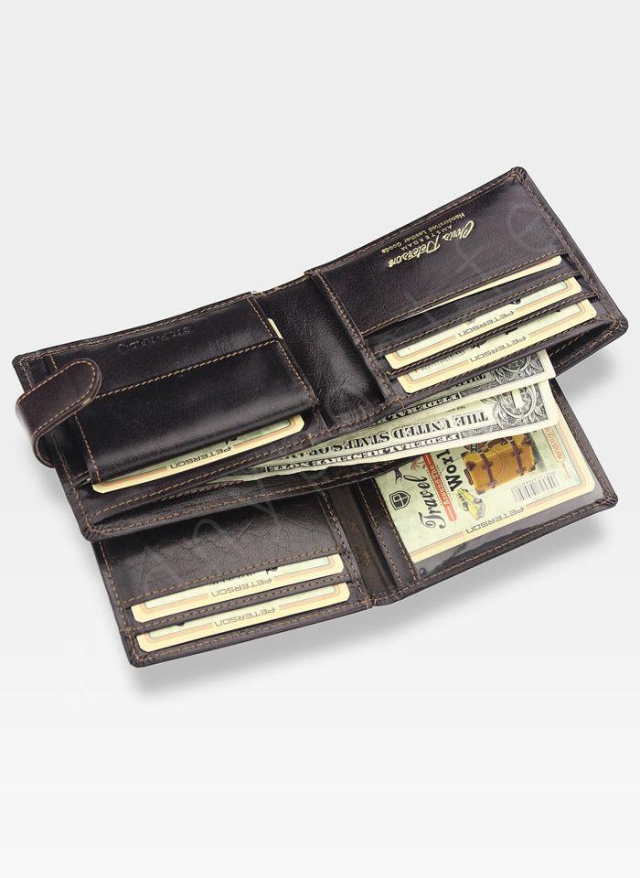 Portfel Męski Peterson Skórzany z wyciąganą wkładką Zapinany System RFID 308 Brązowy