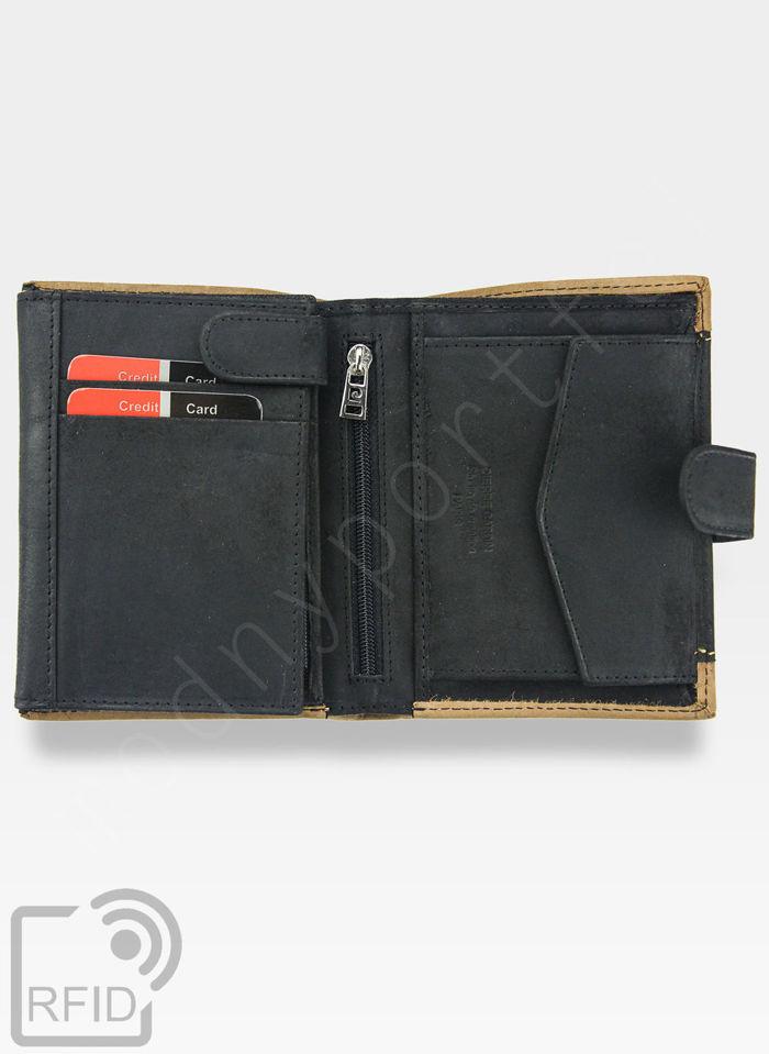 Portfel Męski Pierre Cardin Skórzany Czarny + Brązowy Pionowy Zapinany HUNTER 326A Wbudowana ochrona RFID