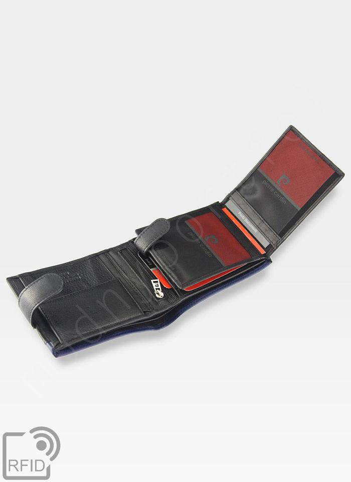 Portfel Męski Pierre Cardin Skórzany Zapinany Czarny + Niebieski Poziomy RFID 324A