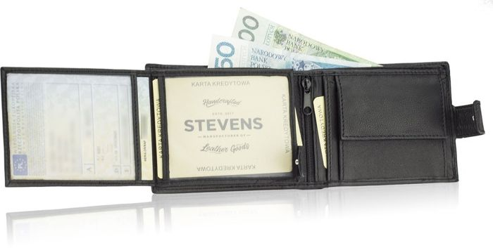 Portfel Męski STEVENS Skórzany Classic Czarny