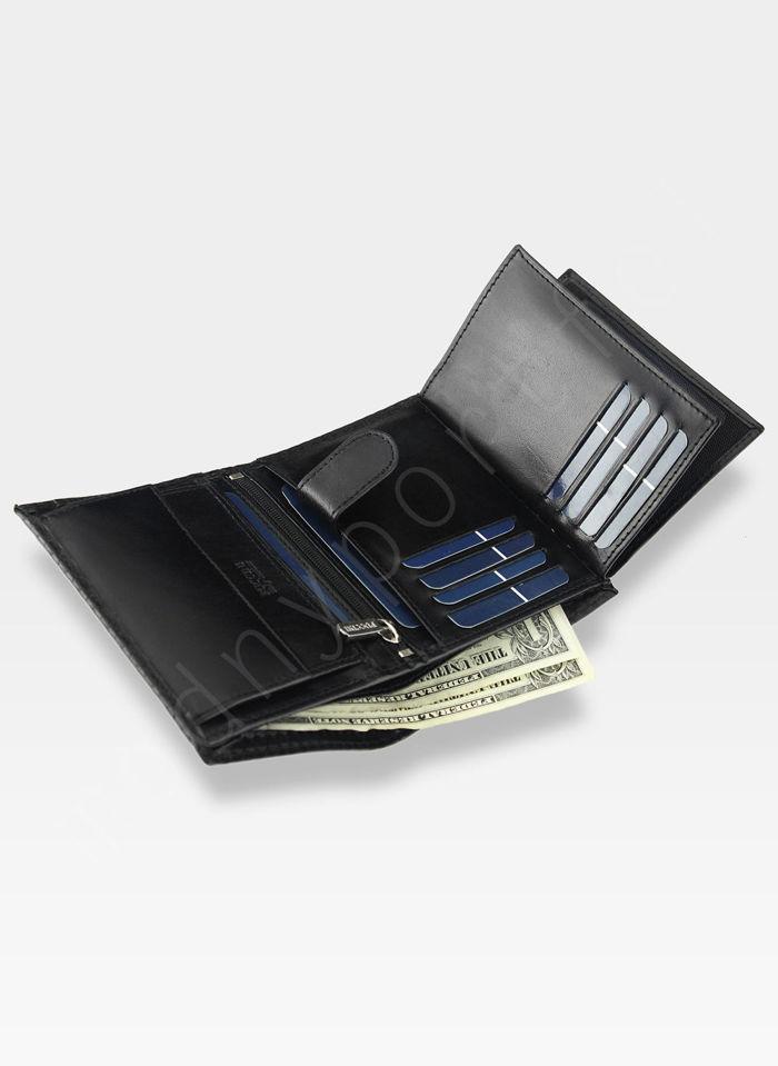 Portfel Męski Skórzany Puccini Czarny E1907 Kolekcja Orion 3D Wytłoczona Tekstura