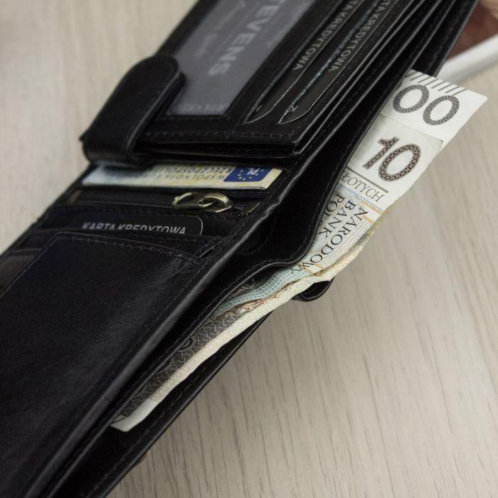 Portfel Męski Skórzany STEVENS Ochrona RFID Czarny