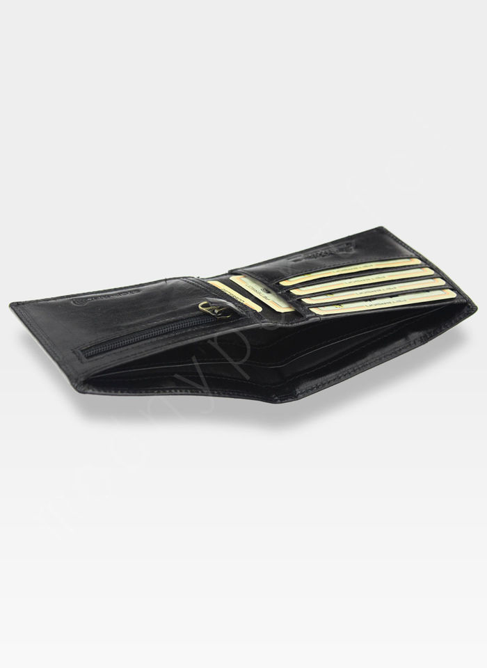 Portfel Męski Z Wkładką Cardholder Peterson Skórzany 381 Czarny RFID STOP