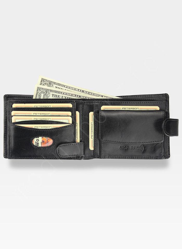 Portfel Skórzany Męski Peterson 334 RFID STOP + Ninja Card Zestaw Na Prezent