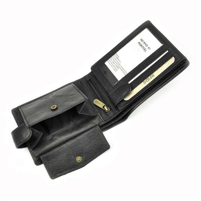 Portfel męski skórzany EL FORREST 892-61 RFID czarny