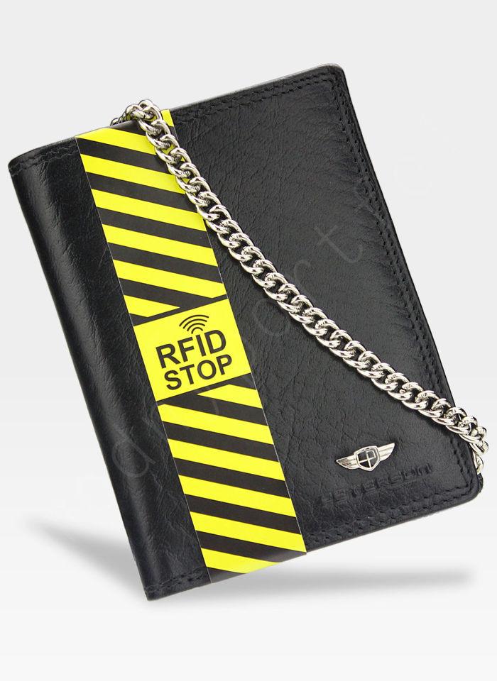 SKÓRZANY PORTFEL MĘSKI PETERSON ŁAŃCUCH RFID STOP 342L 2-1-1