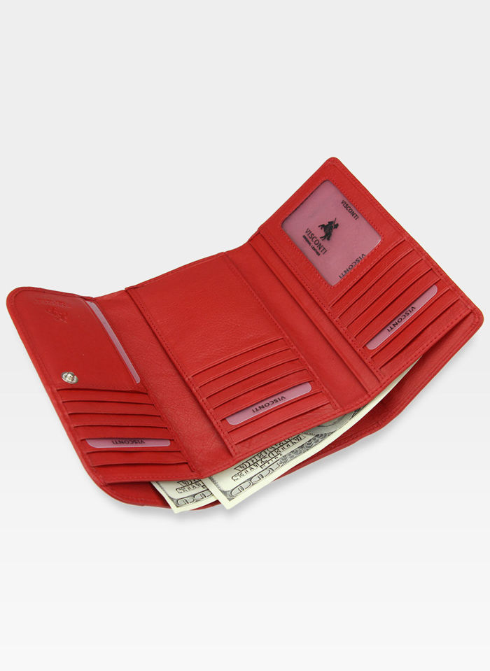 Visconti Portfel Damski Skórzany EN65 Czerwony