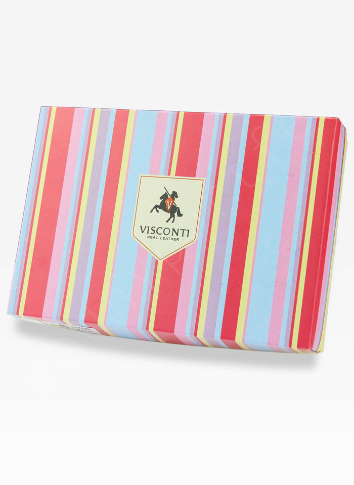 Visconti Portfel Damski Skórzany Rainbow RB40 Niebieski Multi
