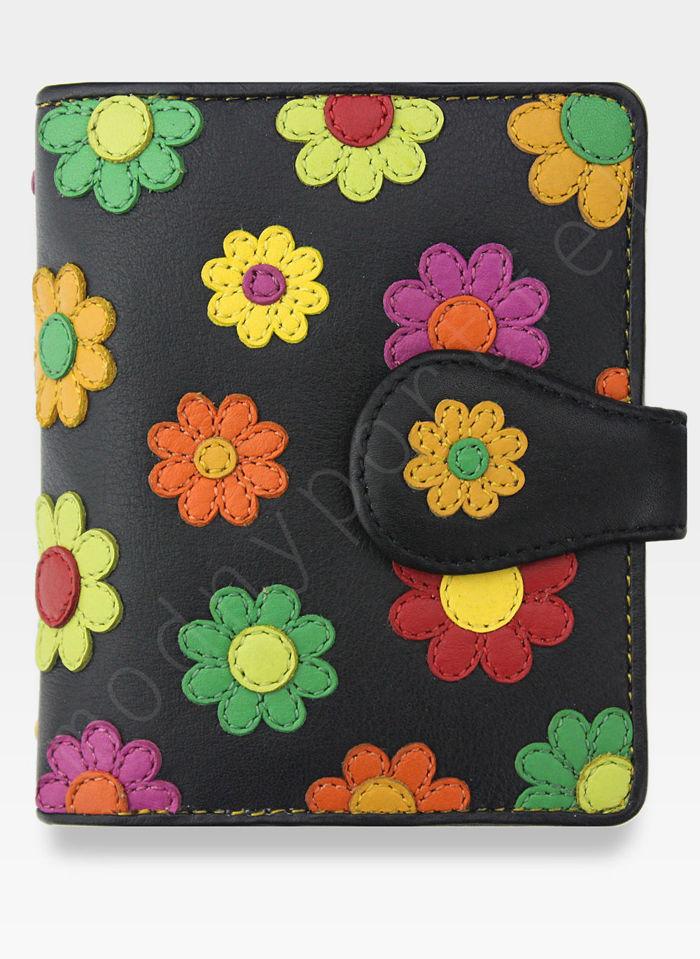 Visconti Portfel Damski Skórzany w Kwiatki Daisy DS80 Czarny