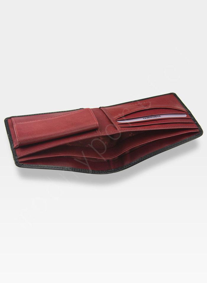 Visconti Portfel Męski Skórzany Torino TR30 Czarny + Czerwony