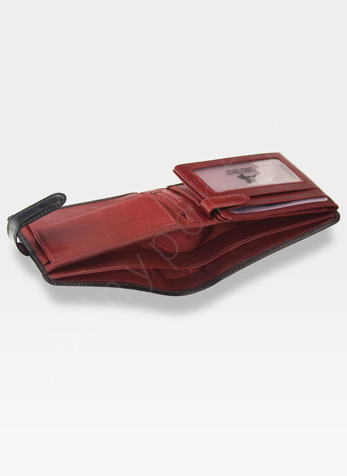 Visconti Portfel Męski Skórzany Torino TR35 Czarny + Czerwony