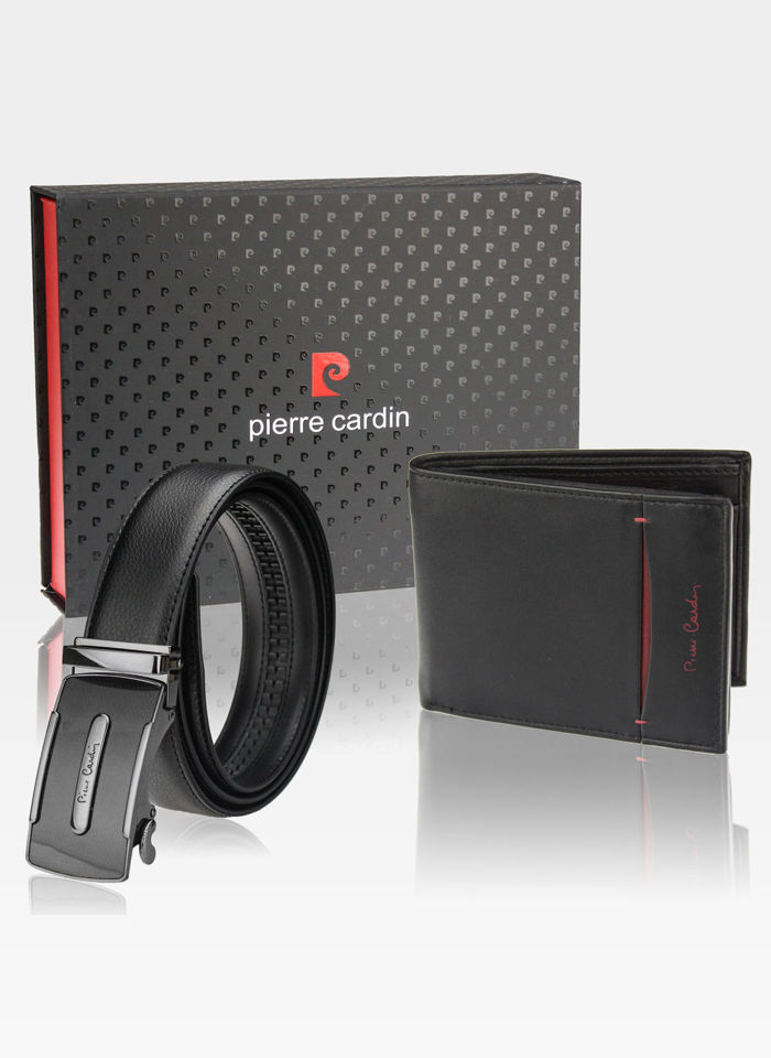 Zestaw Prezentowy Pierre Cardin Pasek Automatyczny i Portfel w eleganckim pudełku na prezent 8806 RFID PROTECTION