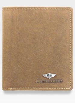 Kompaktowy Portfel Męski  Skórzany Peterson Jasny Brąz 365