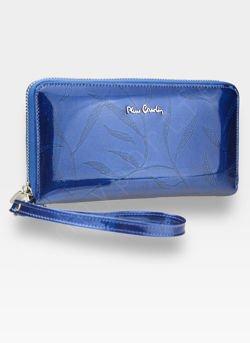 Portfel Damski Pierre Cardin Skórzany Duży Podwójny Suwak Niebieski w Liście 118
