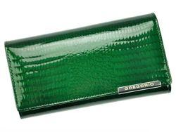 Portfel Damski Skórzany Gregorio GF102 zielony Skóra Naturalna Lakierowana