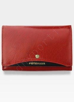 Portfel Damski Skórzany PETERSON 450 Czerwony + Czarny