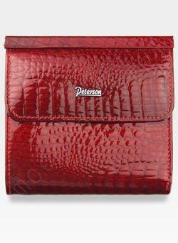 Portfel Damski Skórzany PETERSON 499 Czerwony Lakierowany