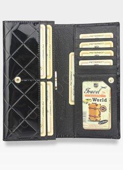 aeeec66b2a537 ... Portfel Damski Skórzany PETERSON Duży Elegancki Pojemny System RFID  Pikowany Czarny 467 Kliknij