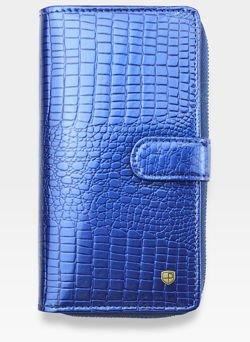Portfel Damski Skórzany PETERSON Lakierowany 603 Niebieski