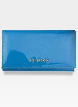Portfel Damski Skórzany PETERSON Lakierowany Niebieski System RFID 466