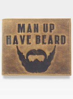 Portfel Męski Mustard MAN UP HEAVE BEARD Dla Facetów z Brodą Na prezent SLIM