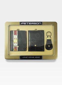 Zestaw Prezentowy Peterson Dla Niej Czarny (Portfel + Etui + Brelok)