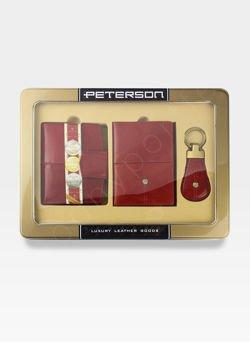 Zestaw Prezentowy Peterson Dla Niej Czerwony (Portfel + Etui + Brelok)